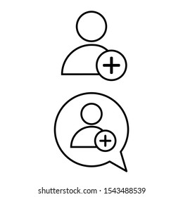 Set of simple icons with person conversation plus and add User