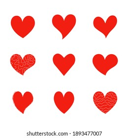 Set of simple icons of red hearts of different shapes hand-drawn for Valentine's Day, holiday, wedding. Love symbol. Design elements. Vector pictograms