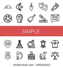 Set of simple icons such as Tent, Petri dish, Boomerang, Coffin, Trowel, Handbell, Love, Marker, Reflexology, Toast, Place, Ant, Fun hat, Menu, Microscope, Map, Bell , simple