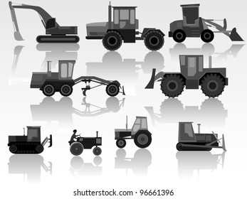 Set of simple icons of tractors, bulldozers, excavators and grader in black-white tone.