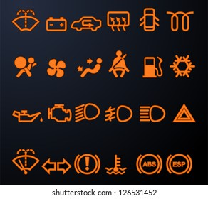 Set of simple illuminated car dashboard icons