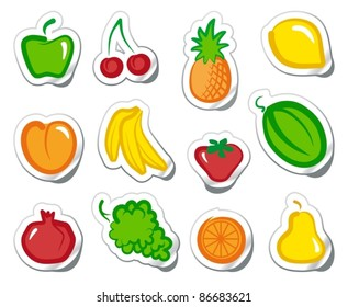 Set of simple images fruit on stickers