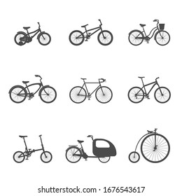 Set of simple isolated bicycle icons on a white background. Flat vector illustration.