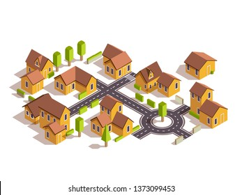Set of simple isometric city  house tree fence and road isolate on white background ,vector illustration.