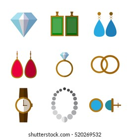 Set of simple jewelry icons flat on white background vector illustration