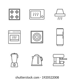 Set of Simple kitchen appliances icon in trendy line style isolated on white background for web apps and mobile concept. Vector Illustration. EPS10