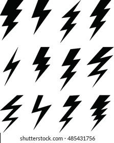 set of simple lightning bolt