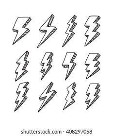 set of simple lightning doodle