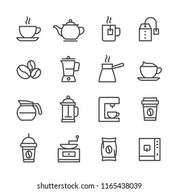 Set simple line icon of coffee shop vector illustration