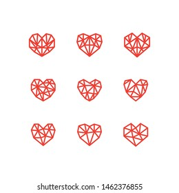 Set of simple line icons of hearts. Love. Wedding. Valentine's Day. Geometric style