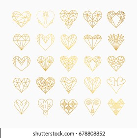 Set of simple line icons of hearts. Love. Wedding. Valentine's Day. Geometric style.
