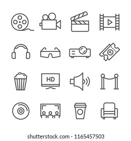 Set simple line icons related of cinema films