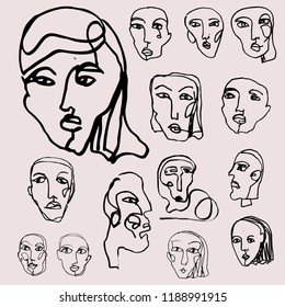 Set of a simple lines human faces. Hand-drawn vector illustration with portraits in modern style for your logo design.