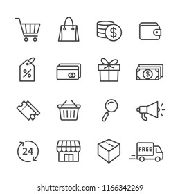 Set simple lines icon of related shopping and e-commerce