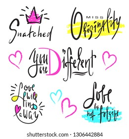 Set of simple love phrases. Hand drawn beautiful lettering. Valentine's day love collection. Perfect for valentine day, wedding and birthday card, stickers, stamp, print design. Elegant vector writing