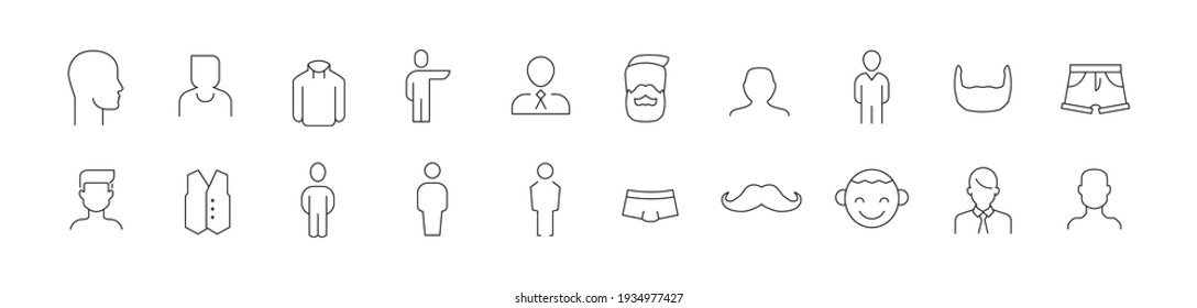 Set of simple man line icons. Outline stroke object. Linear signs pack. Perfect for web apps and mobile.