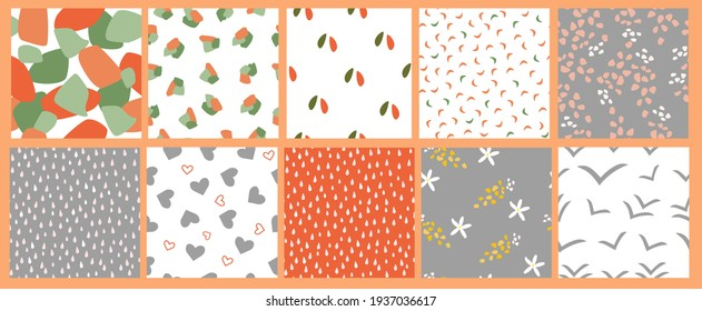 A set of simple minimalistic summer seamless patterns. Airy light ornaments with flowers, drops, hearts, shapes for prints, wallpapers, textiles. Vector graphics.