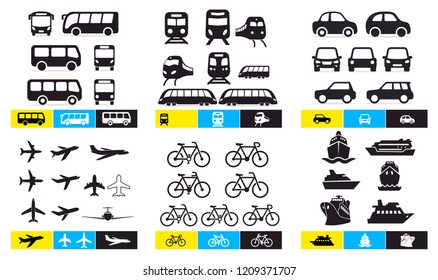 Set of Simple monochromatic vehicle and transport related icons. Bus, train, avto, airplane, bicycle, ship, ferry. For your design or application. Vector illustration. Isolated on white background.