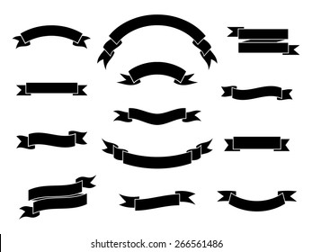 Set of simple monochrome ribbon banners. Vector illustration.