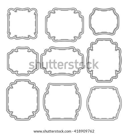Set Simple Ornate Frames Decorating Invitation Stock Vector (Royalty ...