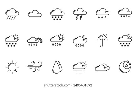 Set of simple outline icons - weather or forecast sings with clouds, snow, rain, fog, wind, sun and moon - vector isolated symbols collection.