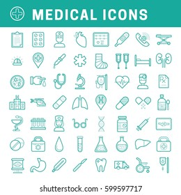 A set of simple outline medical icons, editable stroke