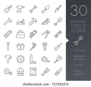 A set of simple outline tools icons, editable stroke
