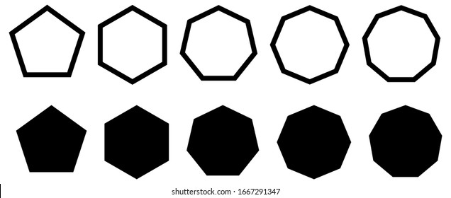 Set of simple polygons with five to nine sides. Filled and outline version