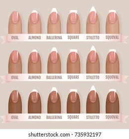 Set of simple realistic manicured pink nails with different shapes. Vector illustration for your graphic design.