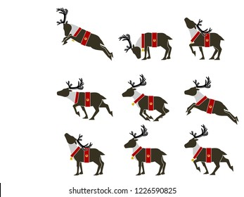 Set of simple Santa's reindeer icon on transparent background