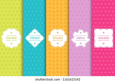 Set of simple seamless geometric patterns with lines, triangles, squares and semicircles - bright colorful minimalistic design. Vibrant vector backgrounds