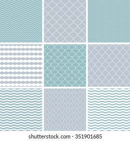 Set with simple seamless patterns. Background with waves. Vector illustration.