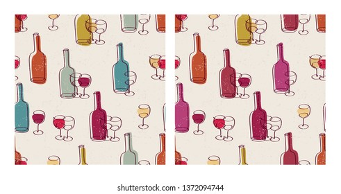 Set of simple seamless patterns with hand drawn bottles of wine glasses. Background for restaurant, bar menu, party, alcohol drinks, wrapping paper, textile, wallpapers and scrapbook. Vector.