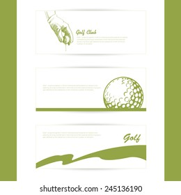 Set of simple silhouette cards on the theme of golf.