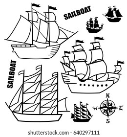 Set of simple sketch illustrations of old sailboats, pirate ships with a sail, vector, black white isolated for design