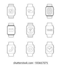 Set of simple smart watch line art icons with shadows on black background vector illustration