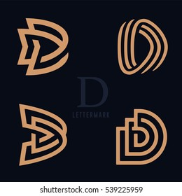 Set of Simple and Solid Lettermarks for Letter D. Professional Quality Graphic Mark for your Business. Typographic Design. Letter D Logo
