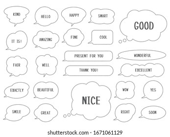 Set of simple speech bubbles with black lines in hand-drawn style. Can be used for various advertising and card designs. Version with sample text.