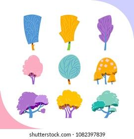 Set of simple stylised trees. Fairytale collection.