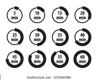 Set of simple timers, minutes label collection, black isolated on white background, vector illustration.
