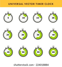 Set of simple timers. Vector stroke symbols.
