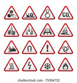 Set Simple of Triangular Warning Hazard Signs
