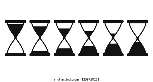 Set of simple vector Hourglass . Sand Clocks icon.