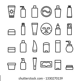 A set of simple vector icons. Cosmetic products. Korean skin care routine. Black and white.