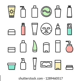 A set of simple vector icons. Сosmetics. Korean skin care routine.