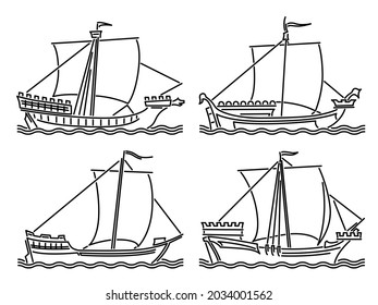 Set of simple vector images of single-masted merchant ships of the early Middle Ages drawn in art line style.