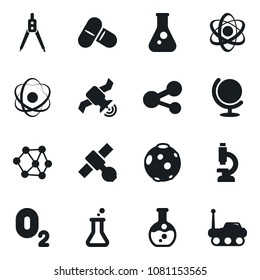 Set of simple vector isolated icons drawing compass vector, atom, flask, pills, molecule, oxygen, neural network, globe, microscope, satellite, moon, space rover