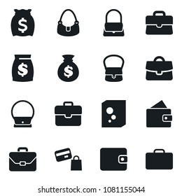 Set of simple vector isolated icons washing powder vector, lady bag, case, money, wallet, shopping, suitcase