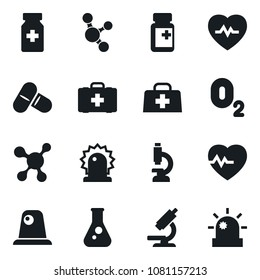 Set of simple vector isolated icons flask vector, heart pulse, pills vial, first aid kit, oxygen, siren, molecule, microscope