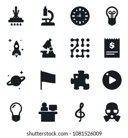 Set of simple vector isolated icons mop vector, manager, microscope, flag, receipt, clock, bulb, rocket, saturn, puzzle, circuit, treble clef, play button, gas mask